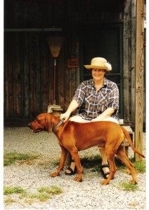 Carol with her beloved Redbone Joe, TN, mid-1990's